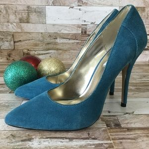 Steve Madden Turquoise/Blue Suede Leather Heels 8